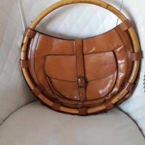 ItalianHanna Mackler Vintage Leather & Bamboo Bag